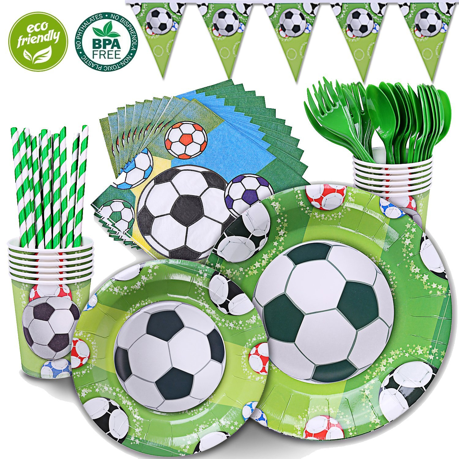 """DuoCute Soccer Party Supplies Sports Themed Pack Children's Birthday Party Supply Set 12 Guests/ 86 Pieces Bonus Tablecloth(Cups Forks Spoons 9""""&7"""" Plates Napkins Drinking Straws Triangle Banner)"""
