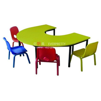 Charmant Wood Kids School Desk And Chair,Kids Semicircular Table And Chair,Attached  Kids Desk