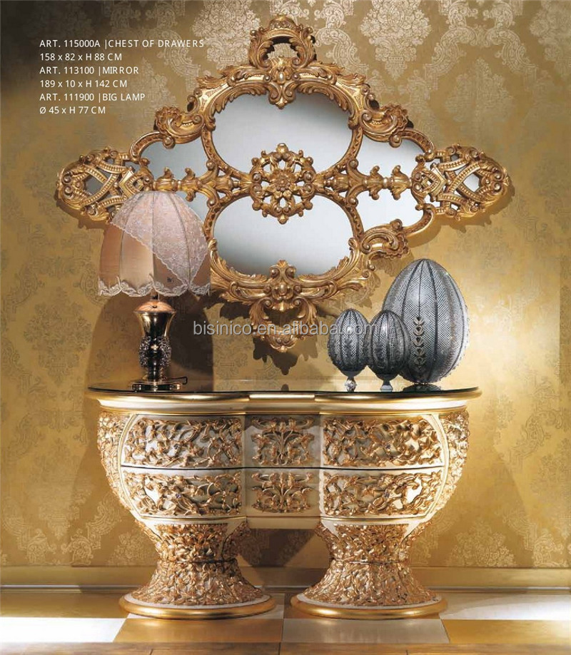 italienne rococo style magnifique marqueterie commode avec miroir luxe verre top couloir table. Black Bedroom Furniture Sets. Home Design Ideas