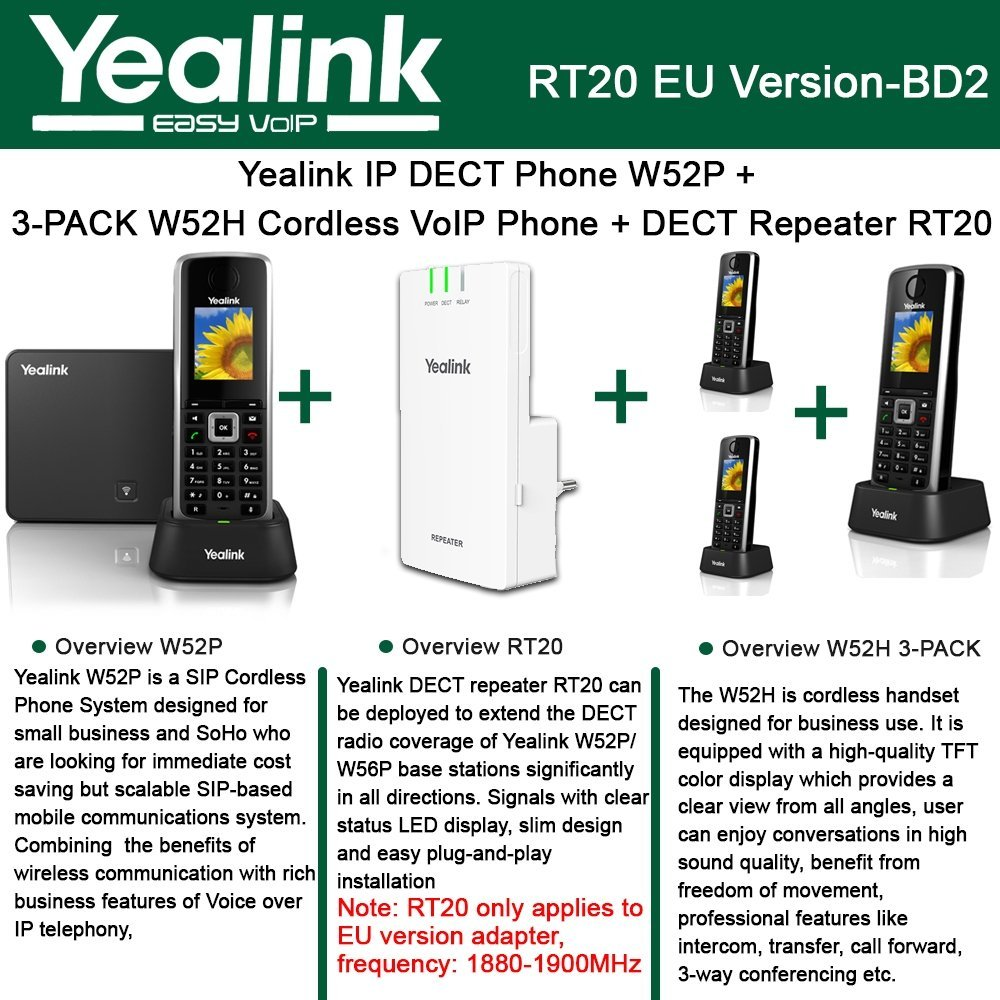 Yealink W52P IP DECT Phone + 3PACK W52H Cordless VoIP Phone + DECT Repeater RT20