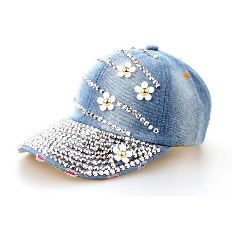 Venta caliente diseño superior ajustable gorra de béisbol moda ocio  rhinestones flores Jean béisbol sombrero para 06932346db4