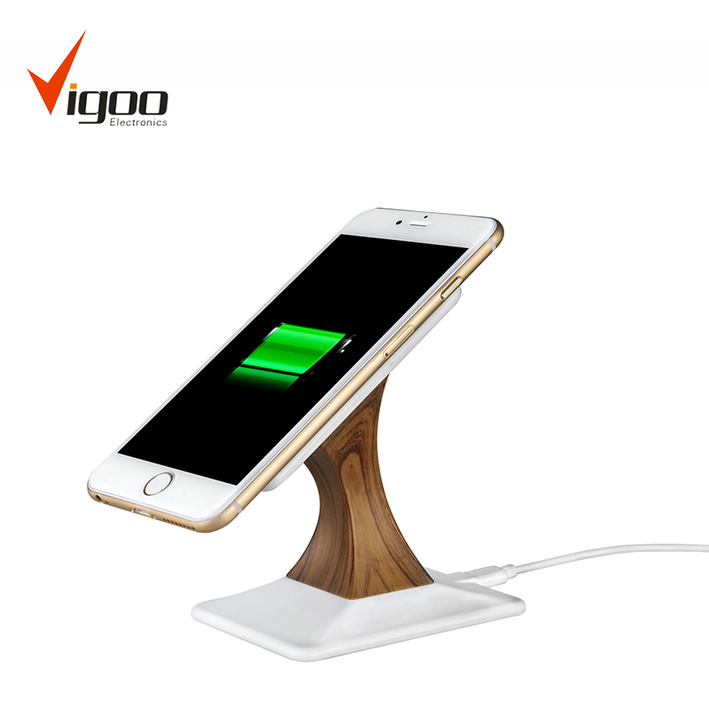 High quality fashon new design charger stand wooden wireless phone charger for T020
