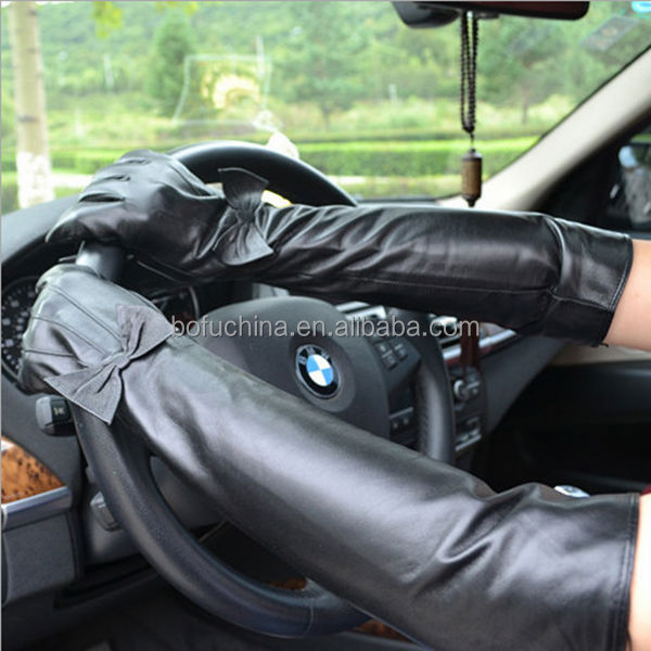 Ladies Long Black And Sex Xxl Leather Opera Gloves With Fur ...
