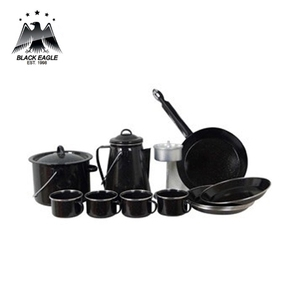 FDA certification germany style camping sets european carbon steel enamel camping set