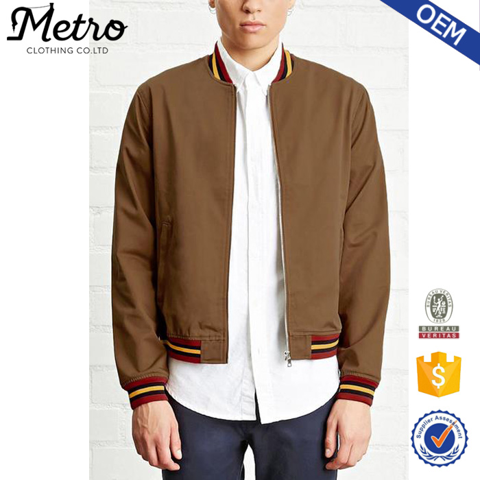 Striped Ribbing Western Style Mens Baseball Bomber Jackets