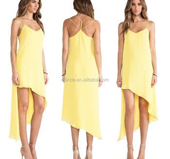 Short Front Long Back Dress Casual Yellow Solid Dress