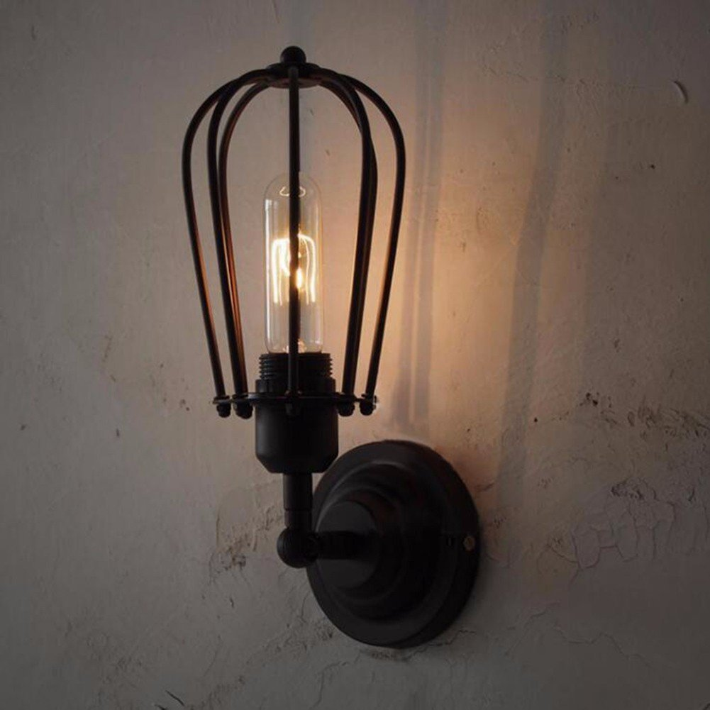 Wall Lights Nostalgic Retro Industrial Wall Lamp American Field Iron Cage Creative Double Head Wall Lamp To Send Edison Lamp,A