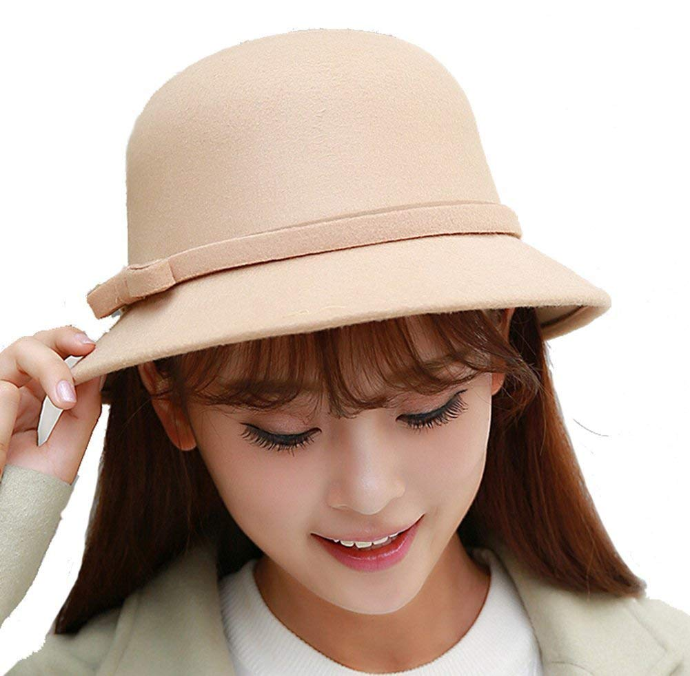 Get Quotations · EUBUY Womens Vintage Wool Felt Fedora Hat with Bowknot Floppy  Hat Cloche Derb Bowler Hat Wide 7295ca254ca2