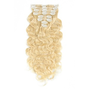 Best selling products in america russian blonde remy human hair extensions clip in curly