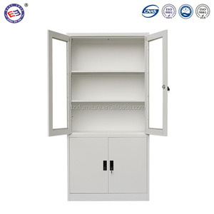 China stainless steel cabinets lockable glass display cabinets storage metal office file cabinets