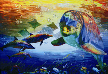 glass materials to decorate drawings dolphin mural mosaic