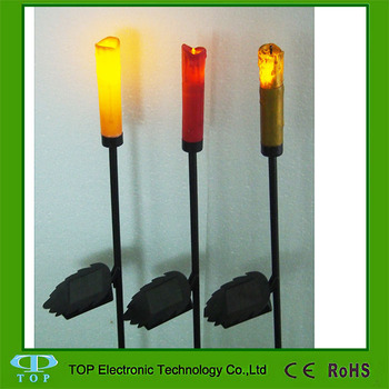 Solar Powered Outdoor Pathway Flickering Garden Candle Stakes New