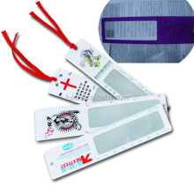 reading magnifier bookmark, plastic pvc card magnifier bookmark with ribbon