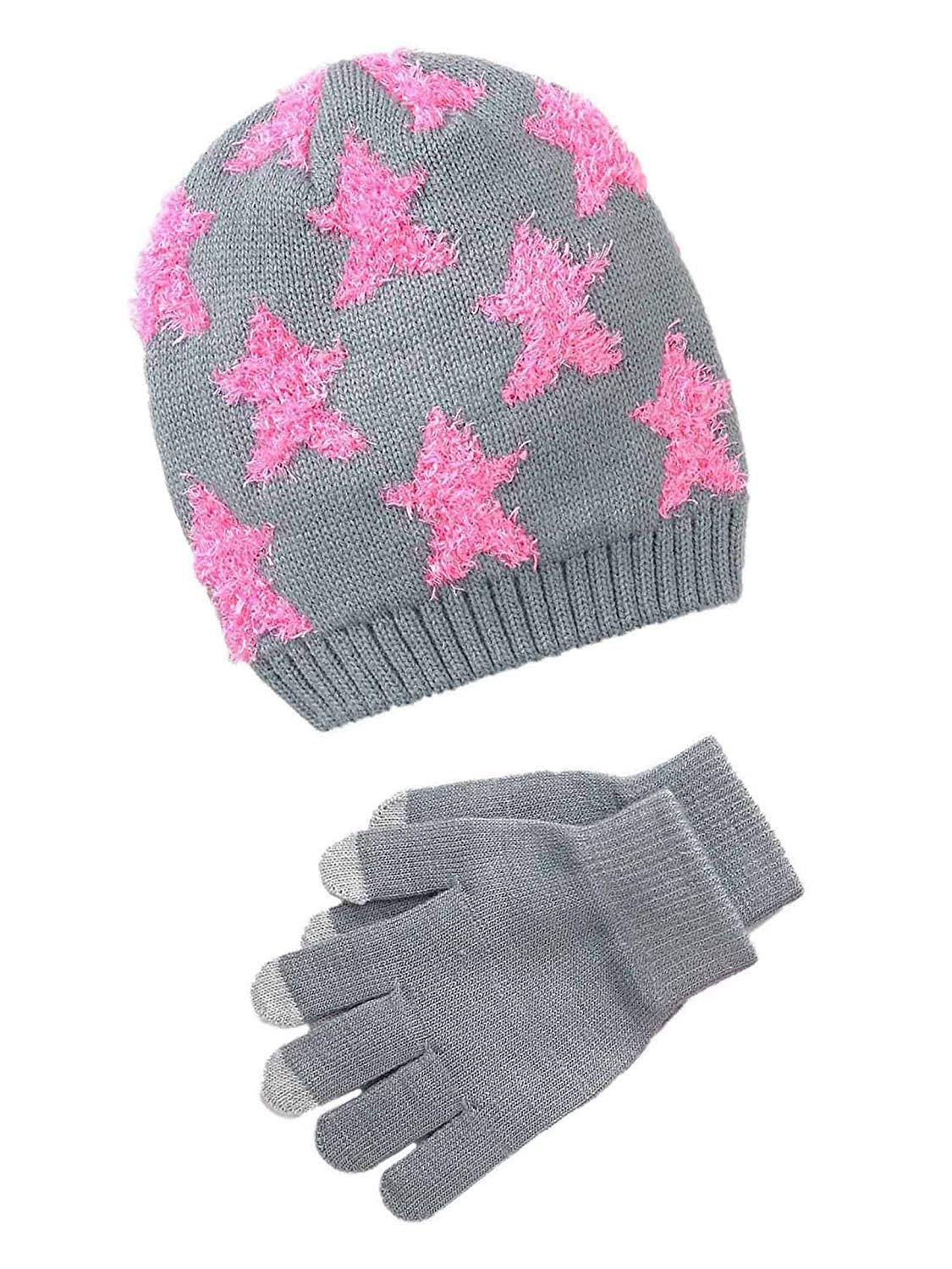29d189a2b2f Get Quotations · SO Girls Star Stretch Knit Hat   Texting Gloves Set - Pink    Grey
