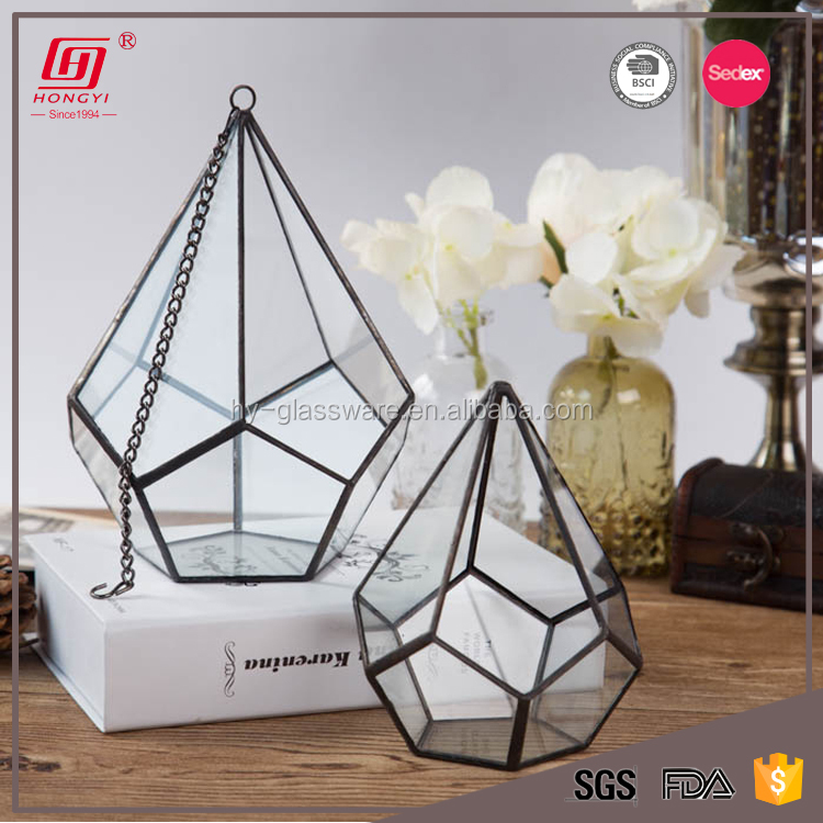 Best selling products 2017 lead fee gold copper geometric glass air plant terrarium canada