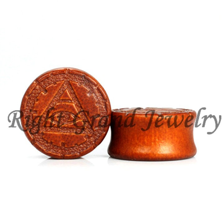 China-wholesale Evil Eye Pattern Wood Ear Plug Organic