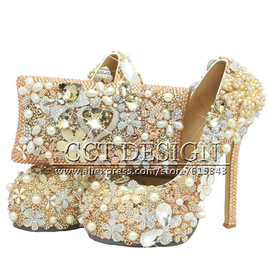 f6e283612 Luxury Handmade Women Shoes Champagne Rhinestones Wedding Shoes Crystal High  Heels Dress Prom Shoes With Matching