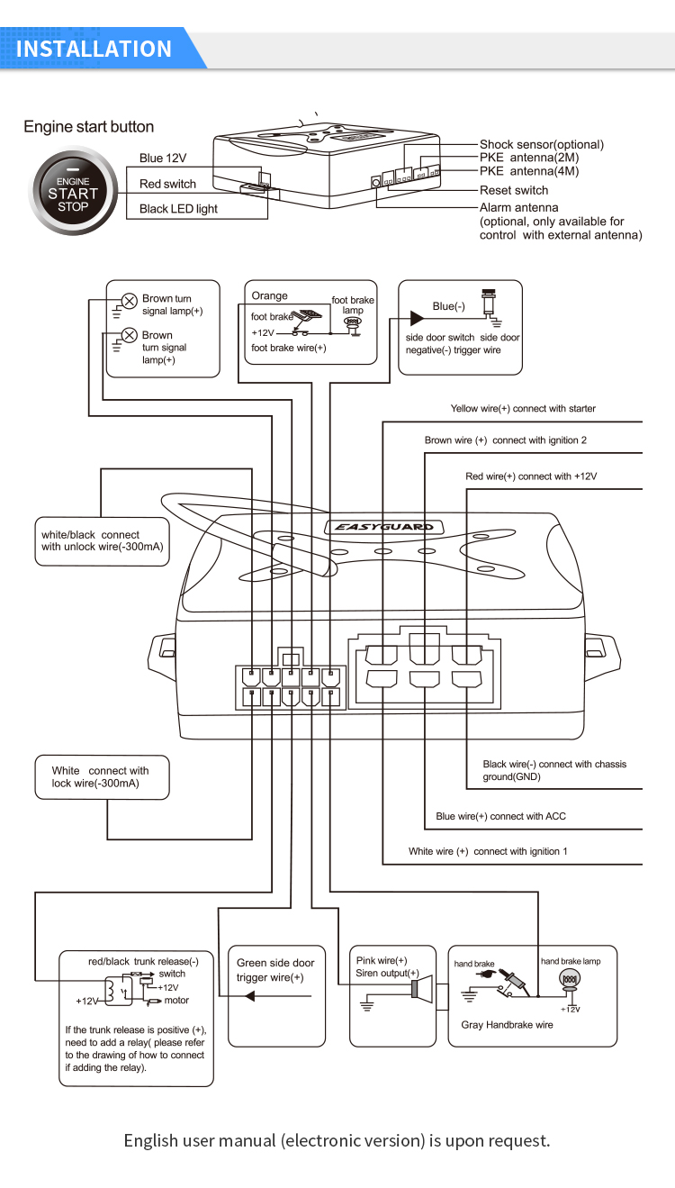 EASYGUARD EC003 Rolling code Smart Key PKE Passive Keyless Entry Car Alarm System Push button Start Remote Engine Start