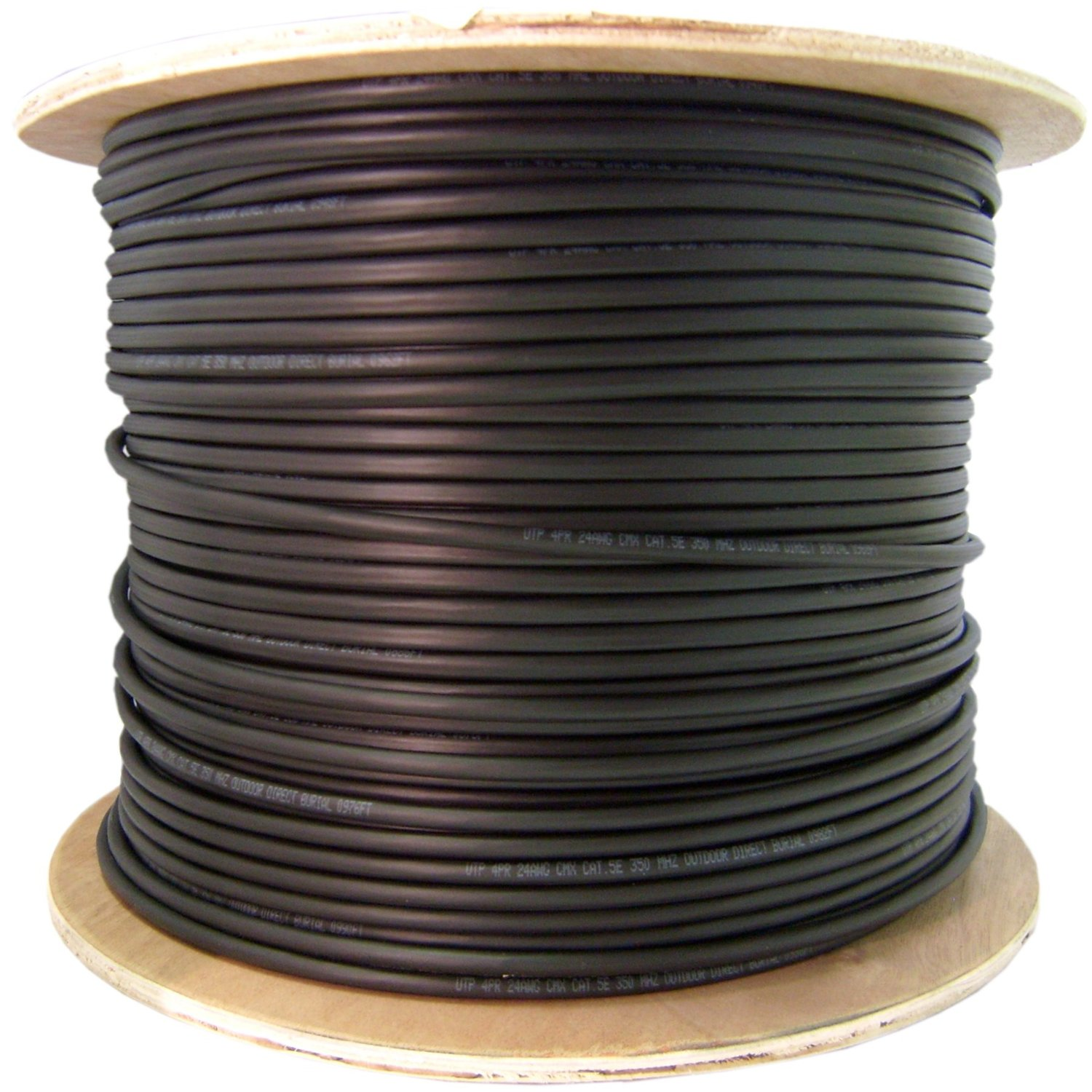 Cable Wholesale - Direct Burial / Outdoor rated Cat 6 Black Ethernet Cable, Solid, CMXT, STP (Shielded Twisted Pair), Foil + Waterproof Tape, 23 AWG, Spool, 1000 foot