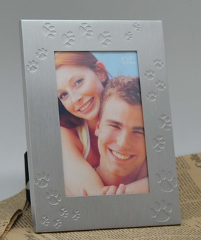 4R Paw print Metal photo frame for pet memorial souvenir gifts