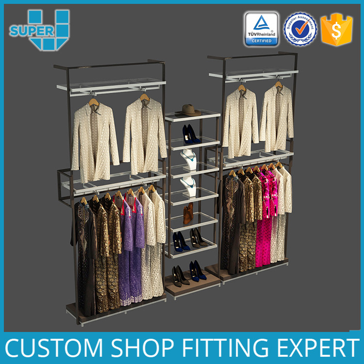 Retail Shop Floor Decoration Display Wall Mounted Clothing Racks