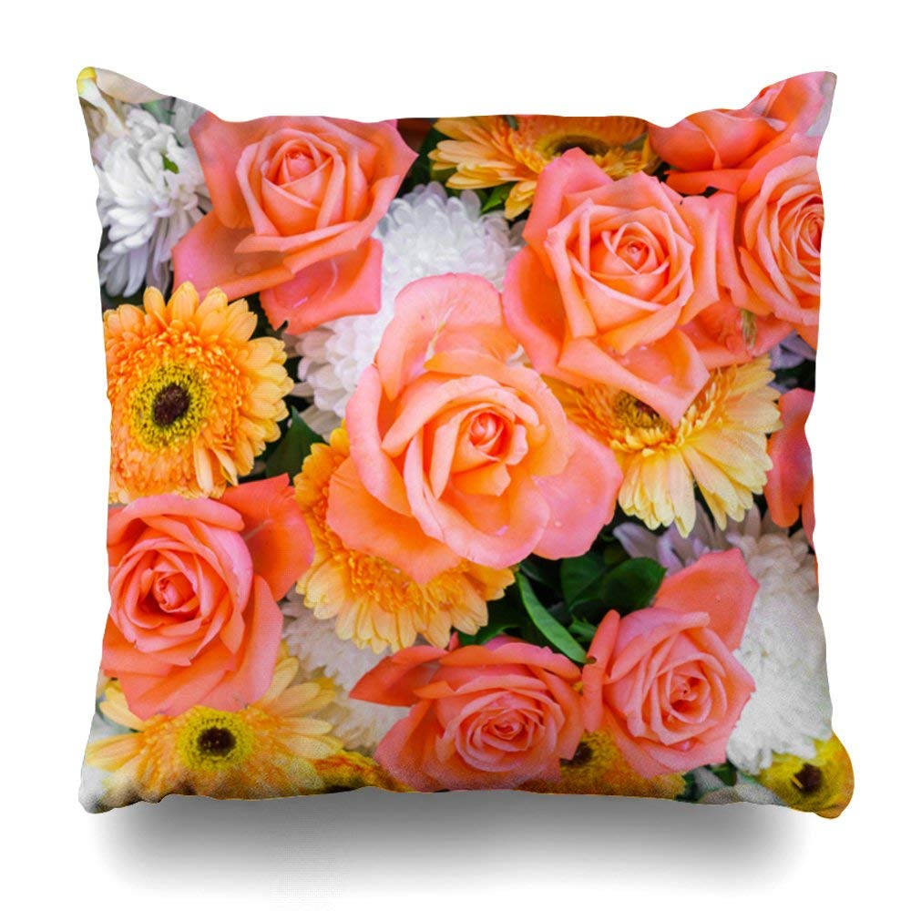 "Decorative Pillow Cover 18""X18"" Two Sides Printed Summer Flowers Pillow Throw Pillow Cases Decorative Home Decor Indoor/Outdoor Nice Gift Kitchen Garden Sofa Bedroom Car Living Room"