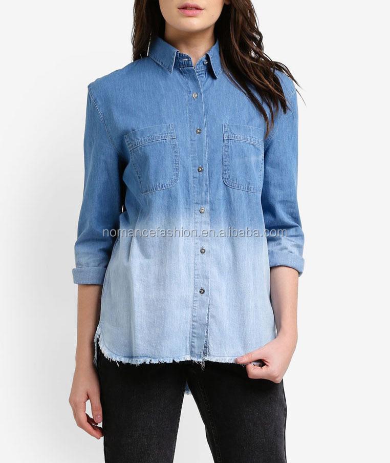 0599ae40ceea Long Sleeve Dip-dye Oversized Denim Shirt Women With Frayed Hem ...