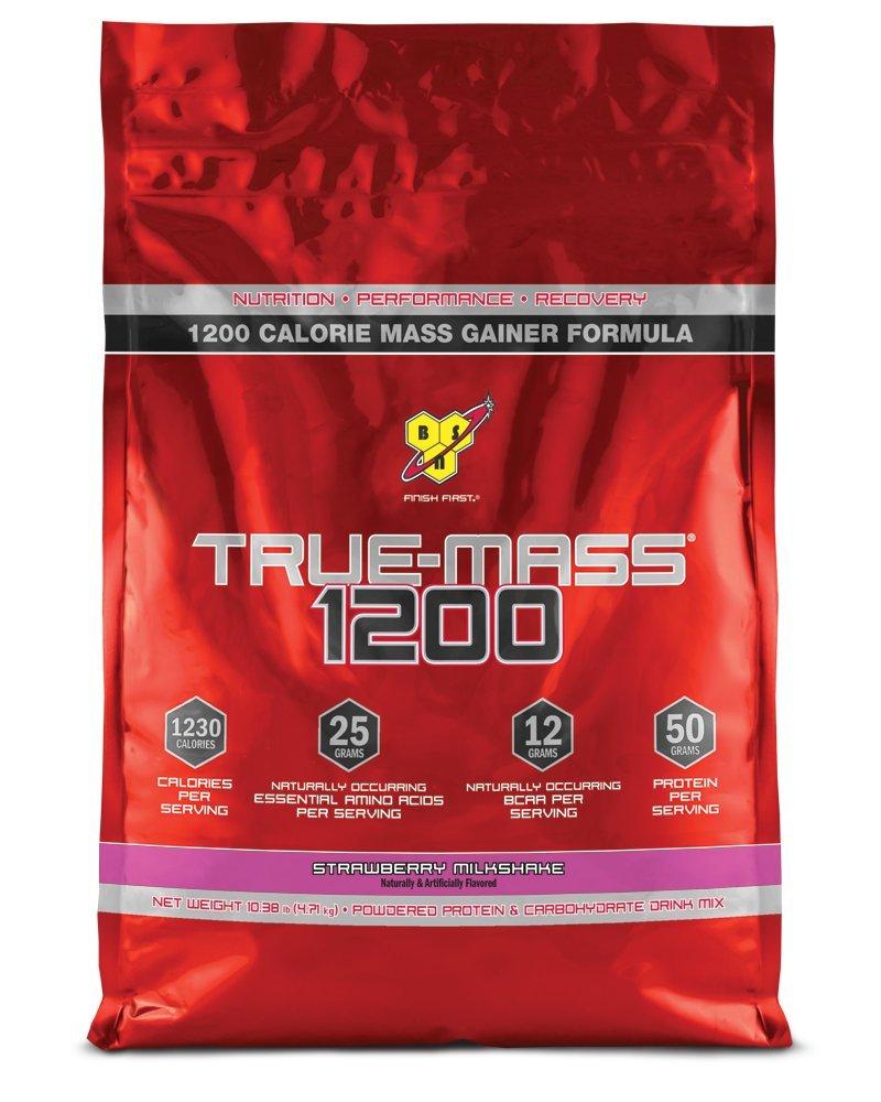BSN TRUE-MASS Weight Gainer, Muscle Mass Gainer Protein Powder, Strawberry Milkshake, 10.38 Pound