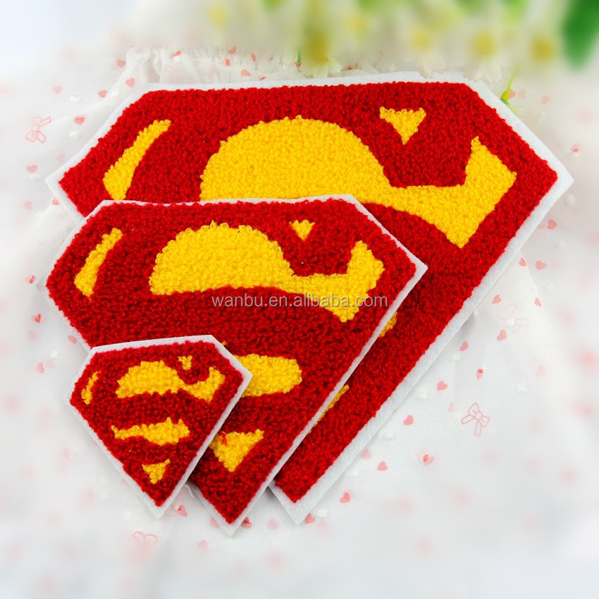 Superman towel patches fashion Embroidered iron on patch for clothing Applique DIY Accessory