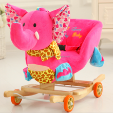 Wooden baby custom stuffed rocking animal toy with sound