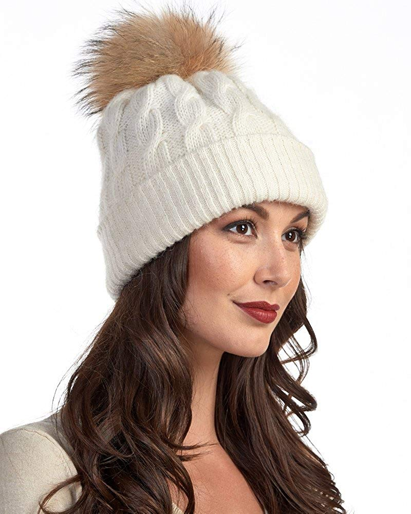 f660d49def6ae Get Quotations · Frr Icelandic Chunky Knit Wool Beanie with Finn Raccoon  Pom Pom