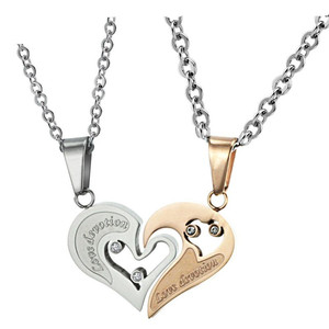 "ATHENAA Fashion Stainless Steel ""Love Devotion"" Heart Lover Couple Pendant Necklace Set of 2"