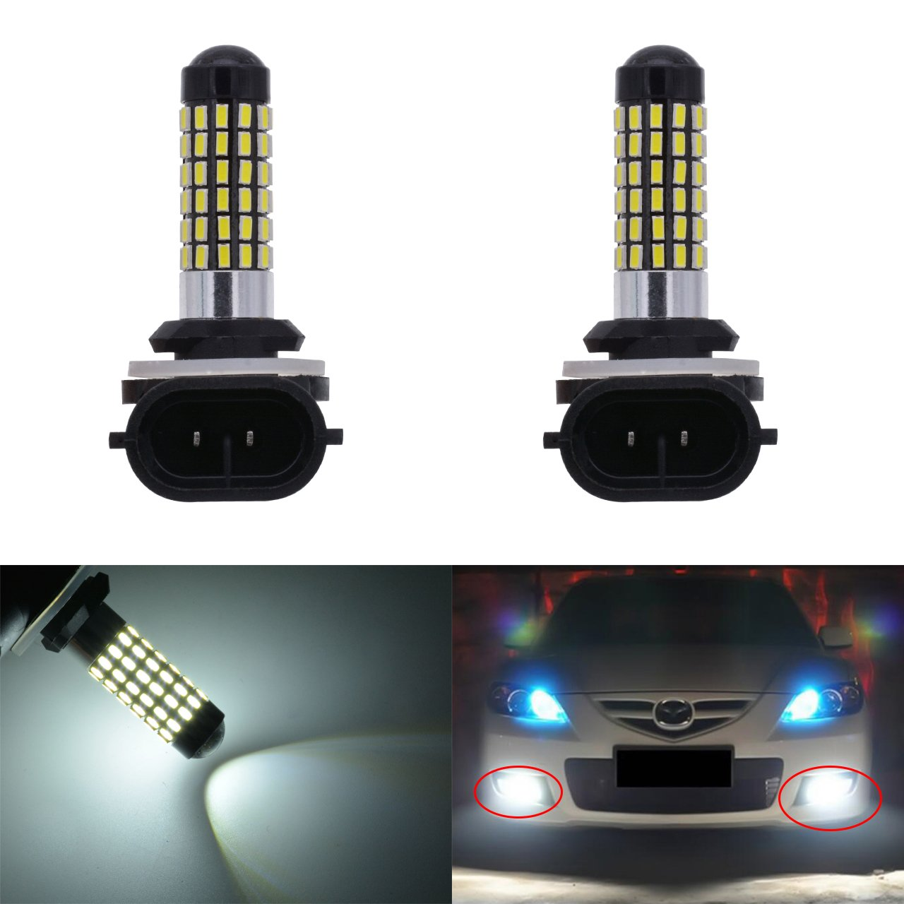 KaTur Extremely Bright 900 Lumens 3014 78-EX Chipsets 894 881 886 889 896 898 Led Bulb DRL Fog Lights Xenon White (Pack of 2)