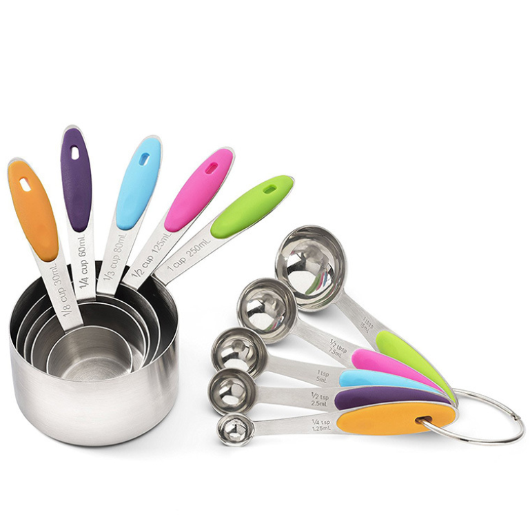 10-pcs colorful Stainless Steel <strong>measuring</strong> cup <strong>spoon</strong> with silicone handle
