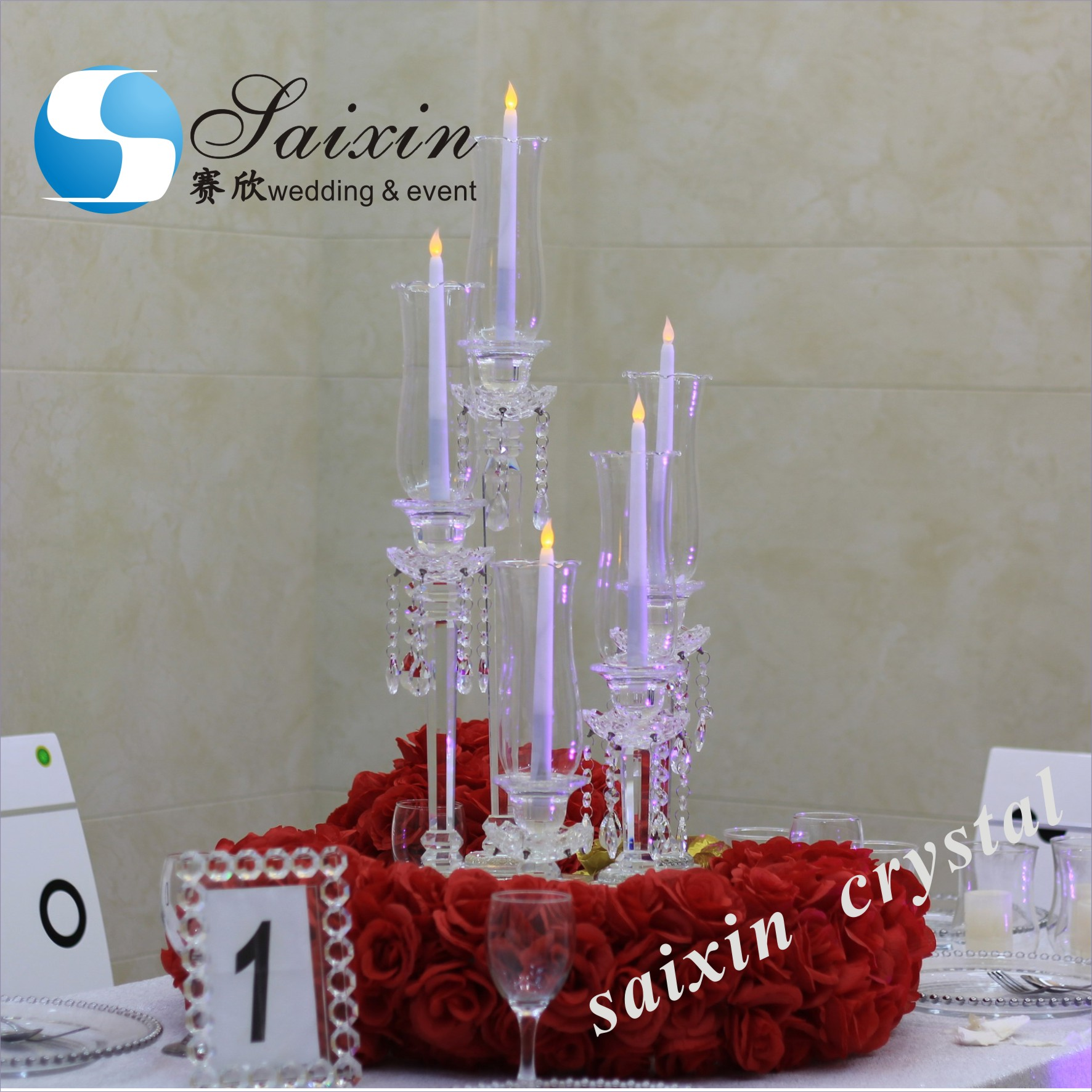 Wholesale party flat plate candle holder centerpiece decoration party supplies