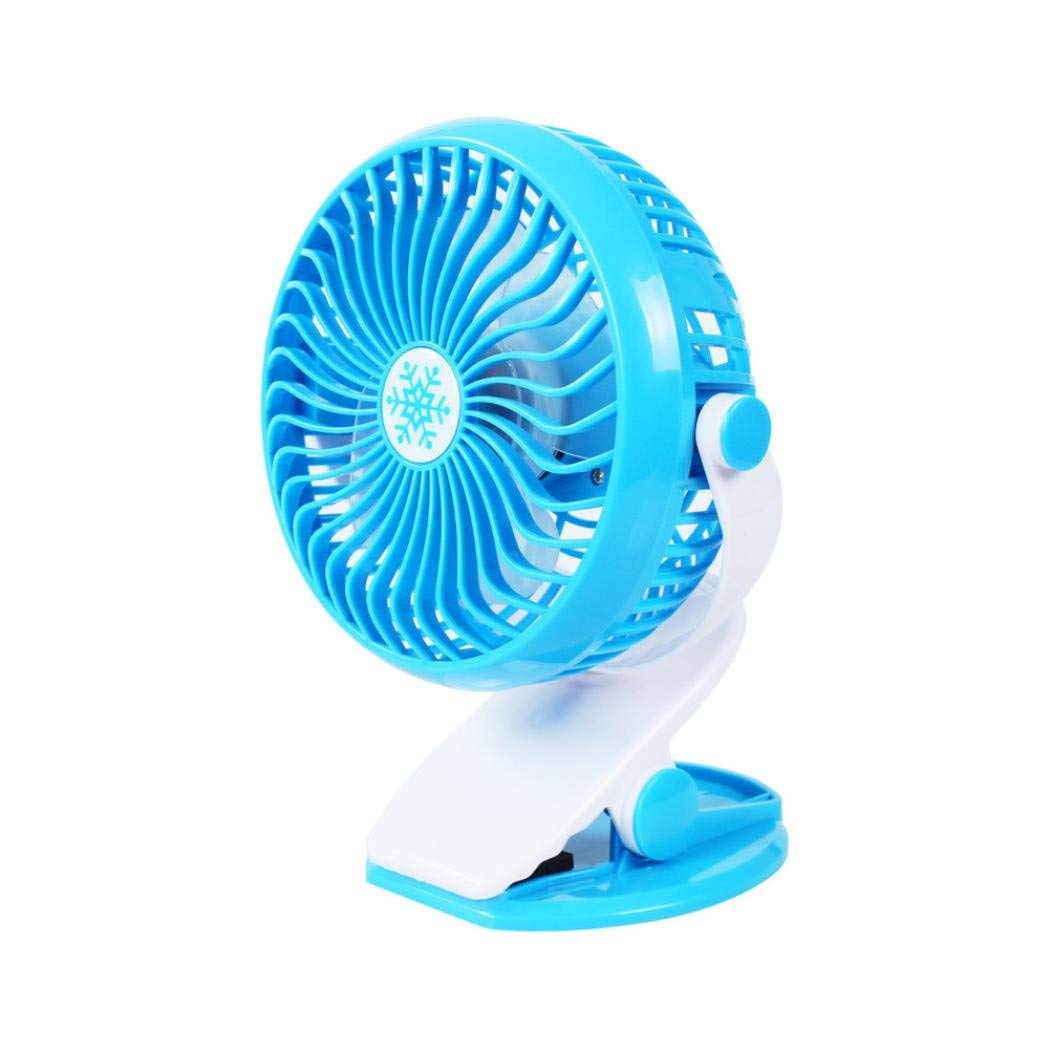 Rechargeable Battery Clip on Fan, Quietness, Adjustable- Portable Mini Table Fan USB Power Clip On Desk Cooling For Baby Stroller and Car-KingWo (C)