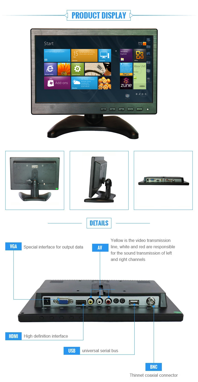 Factory Supply 10.1 Inch LCD/LED Monitor Touch Display for Blood Pressure