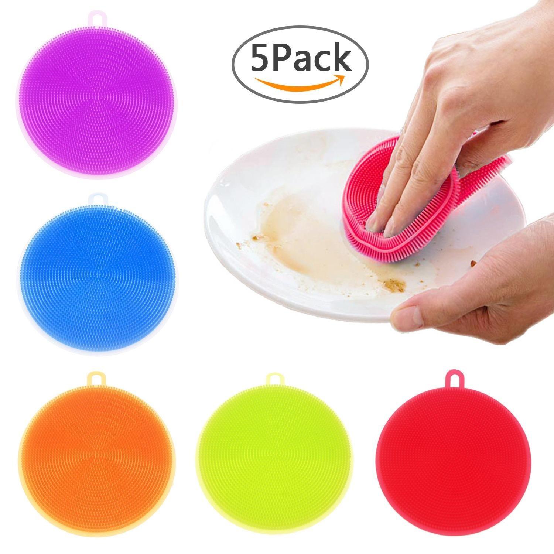 Aolvo Dishwashing Brush, [5pcs] Food-grade Kitchen Silicone Sponges Dish Brush Reusable Antibacterial Cleaner