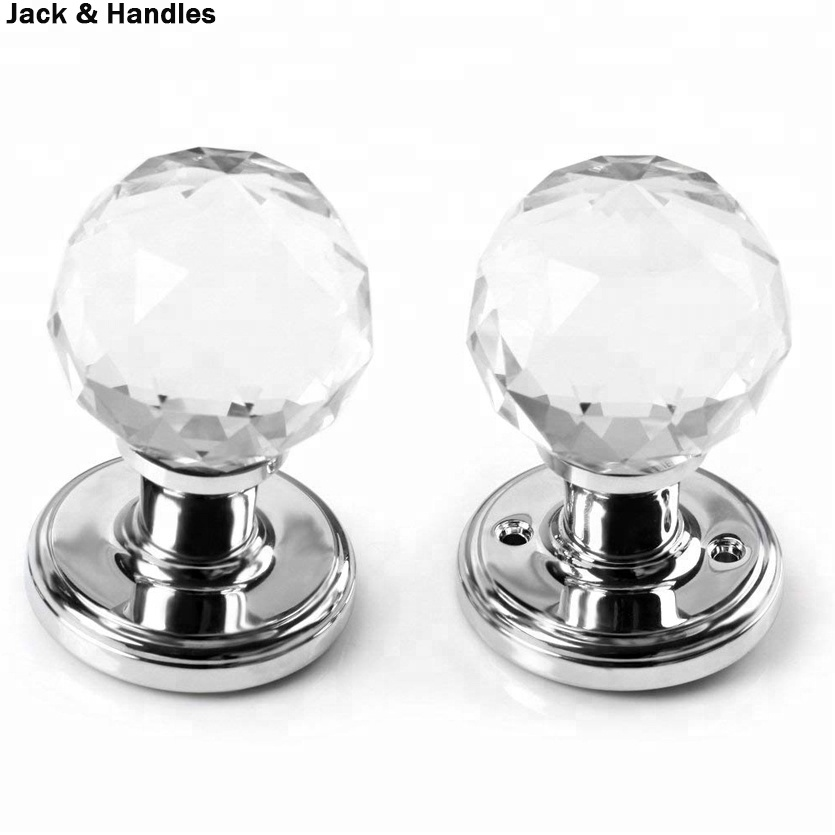 A Pair of 65mm Clear Extra Large Crystal Glass Door Knob Handle for Doors