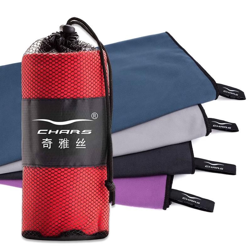Vente en gros daim séchage rapide logo personnalisé sport microfibre serviette serviette de sport avec sac en filet