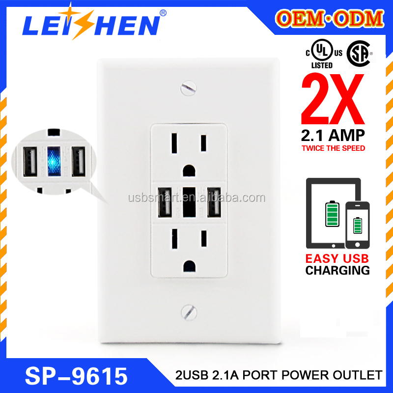 new designed electrical wall power outlet 15A USB wall Charger/Tamper Resistant Duplex Receptacle
