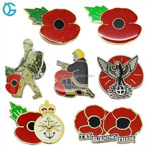 Top quality custom metal flower hard enamel lapel pin poppy badge