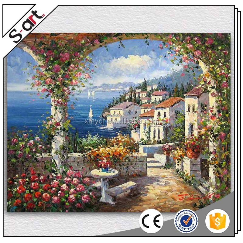 Handmade vineyard landscape painting for living room home hotel cafe modern Wall art Decoration