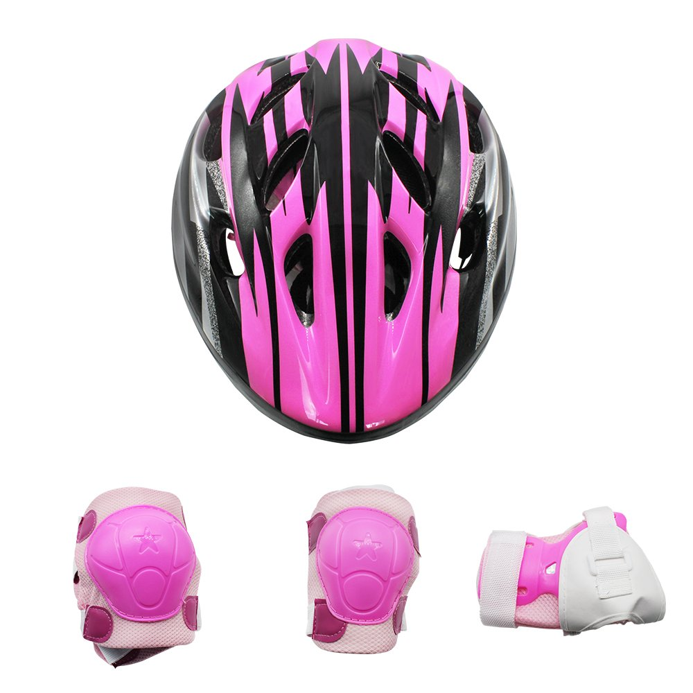 Tour Kids Bike Helmet Knee-pad Elbow Wrist Protection Set for Bicycle, Skateboard, Scooter (for Kids 6~12 Years Old Birthday Gift)