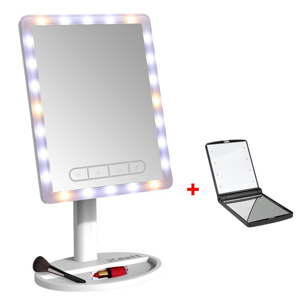 ZDATT Makeup Mirror, 24 LED Vanity Mirror with lights 720 Degree Adjustable Countertop Cosmetic Bathroom Mirror, White