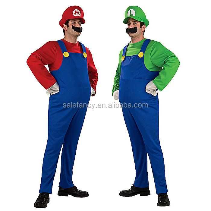 Mens Super Mario Green Plumber Luigi Costume Adult Retro 80/'s Fancy Dress S XL