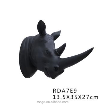 Roogo Resin Home Decor Vintage Animal Small Rhinoceros Head Wall ...