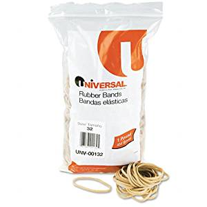 Universal : Rubber Bands, Size 32, 1/8 x 3, 740 per 1lb Box -:- Sold as 2 Packs of - 740 - / - Total of 1480 Each