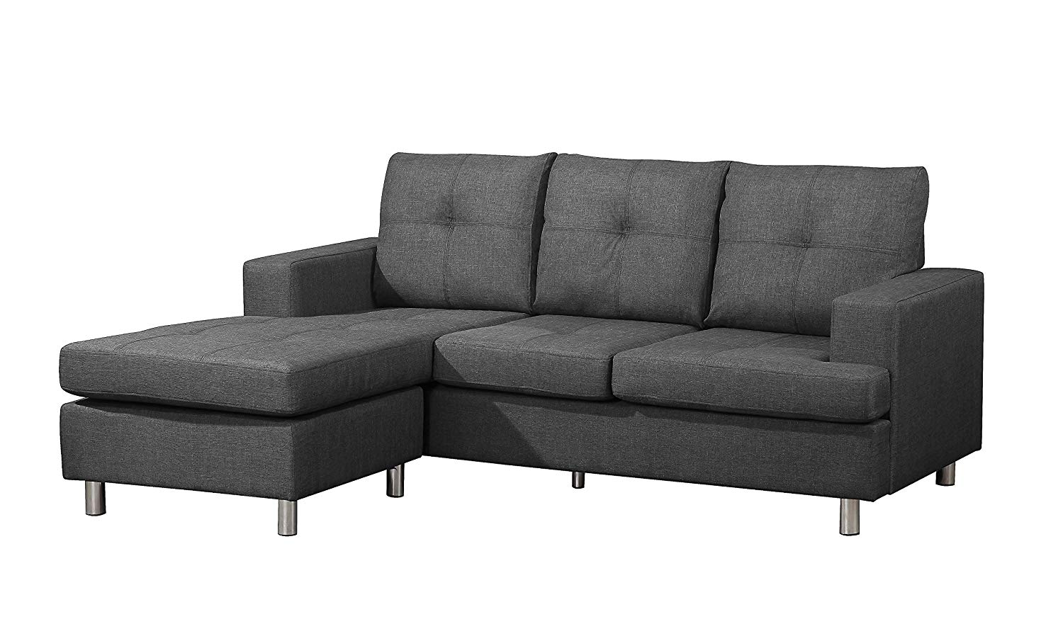 """Container Furniture Direct S0101 Fancy Linen Upholstered Contemporary Reversible Sectional Sofa, 76.5"""", Dark Grey"""