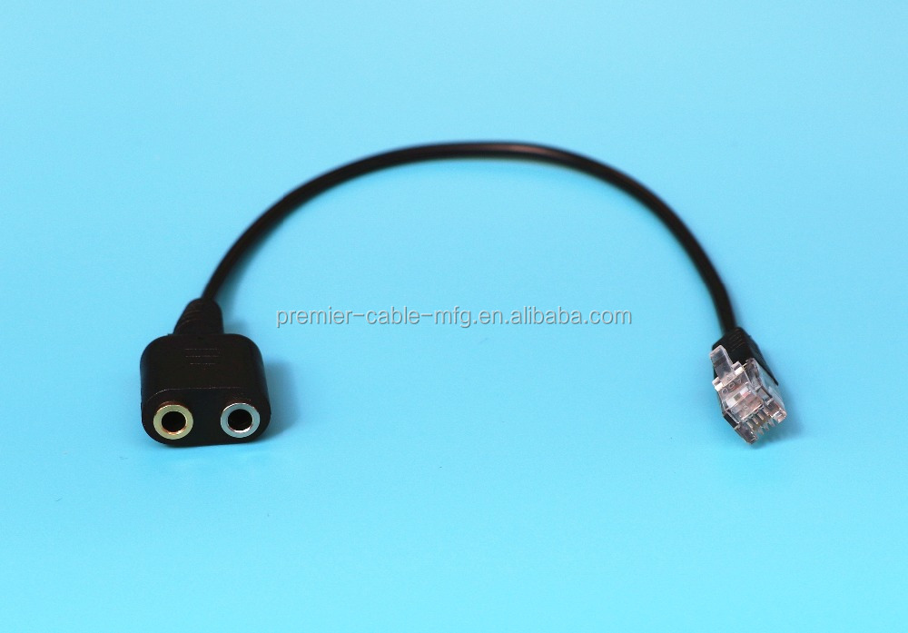 Pc Headset Adapter Computer Stereo Dual 3.5mm To Rj9/rj10 Phone Jack ...